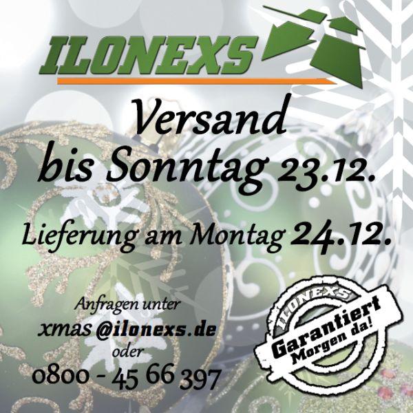Mit ILONEXS können Sie noch bis zum 23.12.2018 versenden. Wir stellen am 24.12.2018 morgens zu! Anfragen unter xmas@ilonexs.de oder telefonisch 0800 - 45 66 397